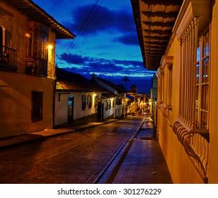 A view of Bogota's colonial neighborhood taken at night