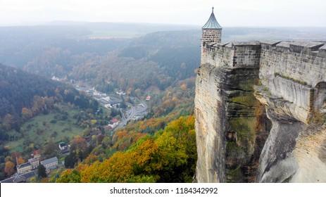 View to Bohemia over the mountain range of the Ore Mountains in autumn