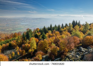 View to Bohemia over the mountain range of the Ore Mountains in Czech Republic in autumn