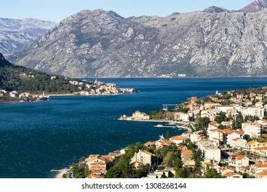 The view at the Boka Kotor bay from the fortress of Saint John. Kotor, Montenegro