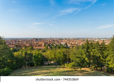View of Bologna City and its towers from a viewpoint located in Piazzale San Michele in Bosco, in front of Rizzoli's Hospital, in Bologna