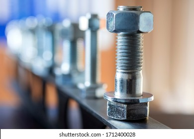 View of the bolts and nuts (fasteners). A bolt is a form of threaded fastener with an external male thread. Bolts are very closely related to screws. Bolts are often used to make a bolted joint.