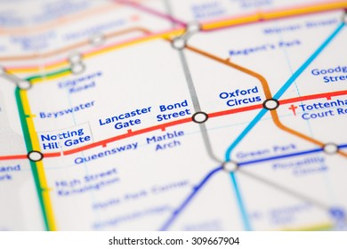 View of Bond Street tube station on a London train map.