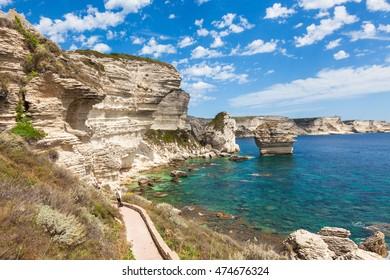 View of Bonifacio cliff coast rocks, Corsica island, France