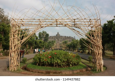 A View to Borobudur temple in Magelang, Indonesia.