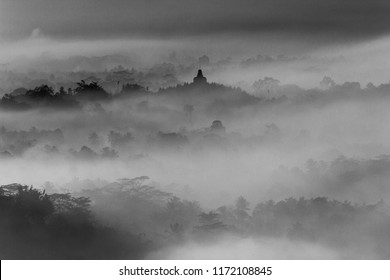 The view of Borobudur Temple  surrounded by morning mist