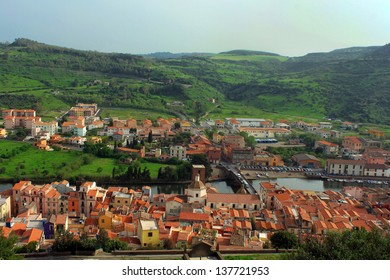 View of Bosa from the Serravalle's Castle, Sardinia, Italy