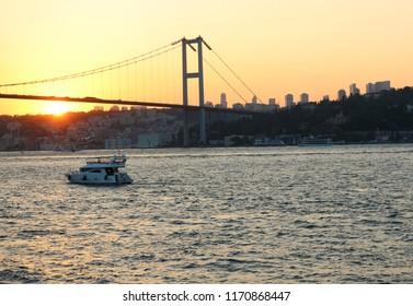 View of the Bosphorus bridge in Istanbul at Sunset, Turkey.