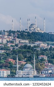 View from Bosphorus cruise with three mosques in Istanbul