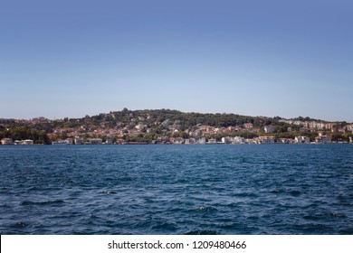 View of Bosphorus and european side in a sunny summer day in Istanbul. Image is captured neighborhood called Kanlica / Beykoz in Asian side.