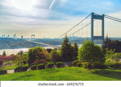 View of the Bosphorus and the Fatih Sultan Mehmet Bridge photo, taken from Otagtepe, Beykoz in Istanbul, Turkey