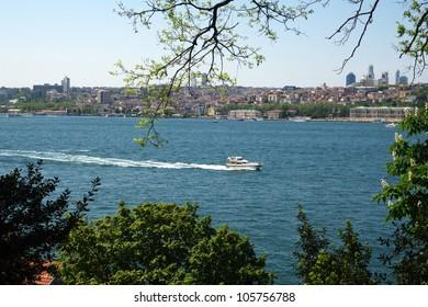 a view of bosphorus from fethipasa korusu / istanbul