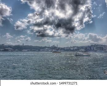View of the Bosphorus from Karakoy Pier, September 9, 2019 in Istanbul, Turkey.