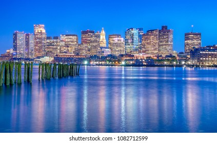 View of Boston downtown, USA at sunset
