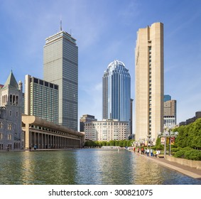 View of Boston in Massachusetts, USA in the summer with its mix of modern and historic architecture at Back Bay.