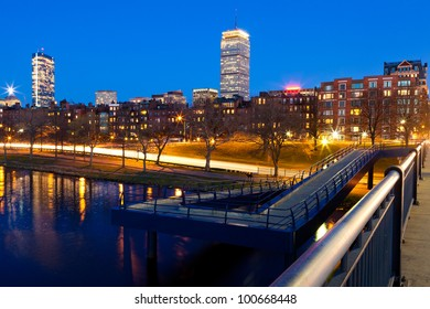 View of Boston in Massachusetts, USA at the sunset time with the Charles River in the foreground.