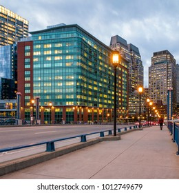 View of Boston in Massachusetts, USA at sunset with its mix of modern and historic building.
