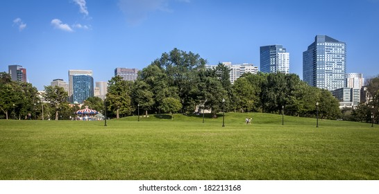 View of the Boston Public Garden and Commons in the summer season in Boston, Massachusetts, USA.
