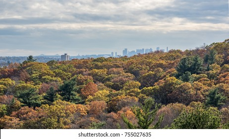 View of the Boston skyline from Middlesex Fells (Melrose, MA) with fall foliage.