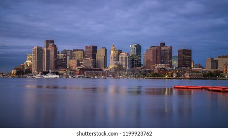 A view of Boston's skyline/cityscape from the wharf in the morning