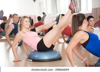 View of bosu training in fitness club