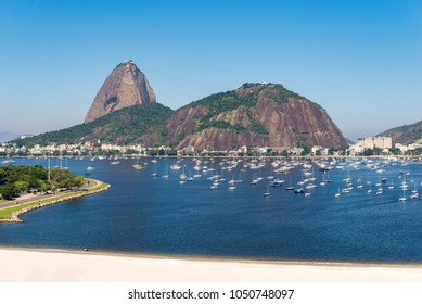 View of Botafogo Beach With the Sugarloaf Mountain in the Horizon, in Rio de Janeiro, Brazil