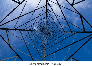 View from the bottom of a high-voltage pylon