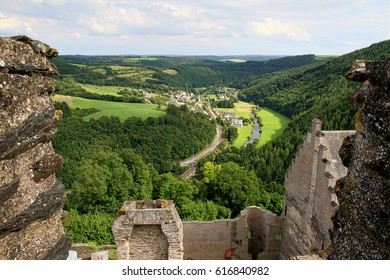 View from Bourscheid Castle in the Ardennes, Luxembourg