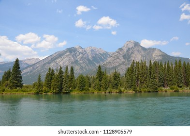 View of the Bow River from trail behind Cave and Basin in Banff National Park