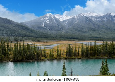 View of the Bow river in Bow Valley Banff National Park Alberta Canada