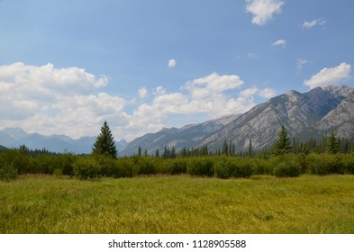 View of Bow River Valley behind Cave and Basin in Banff National Park