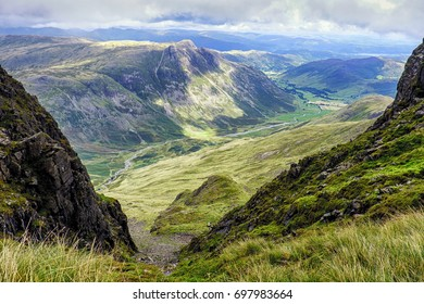 The view from Bowfell, across the Langdale valley, Lake District