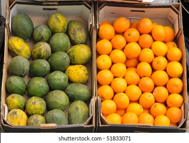 View of boxes filled with mango and oranges.