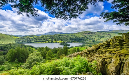 View from Brackenfell overlooking Grasmere, The Lake District, Cumbria, England