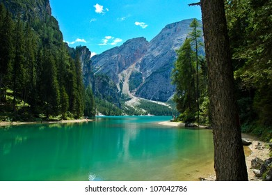 view of the Braies Lake and Croda del Becco, Dolomites - Italy