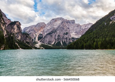 View of the Braies Lake (Lago di Braies, Pragser Wildsee) at dusk. Braies lake is one of the most famous Italian alpine lake, situated in the Prags Dolomites (Dolomiti di Braies), in South Tyrol.