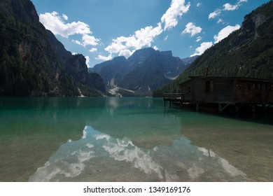 View of the Braies Lake ( Pragser Wildsee, also called Lago di Braies or Lake Prags ) in Dolomites mountains, Sudtirol, Trentino Alto Adige, Italy