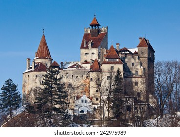 View of Bran Castle (also know as Dracula's Castle) in winter