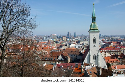 The view of Bratislava, Slovakia, with cathedral