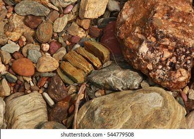 view of breaking down of rock by weathering process - Shutterstock ID 544779508