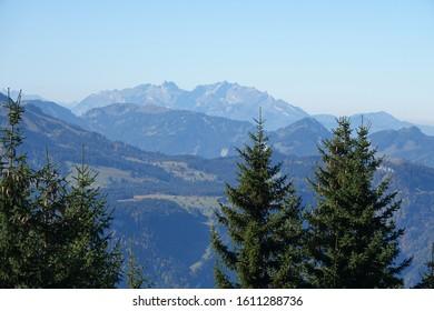 View from Bregenzerwald to the Saentis in switzerland