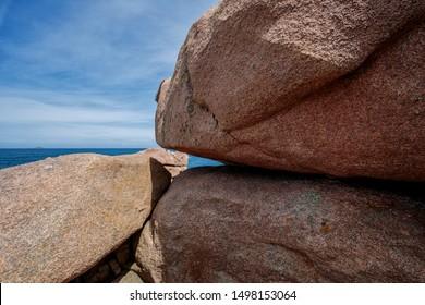 View of Bretonic Coast and Beach with Granite Rocks at the Cote de Granit Rose in Summer - Pink Granite Coast