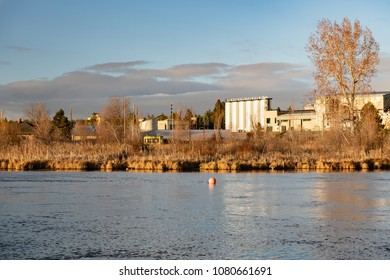 View of a brewery along the Deschutes River in Bend, Oregon early morning