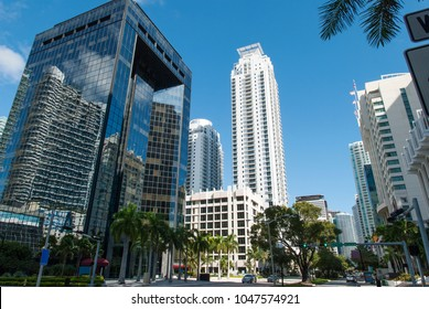 The view of Brickell Avenue in Miami downtown financial district (Florida).