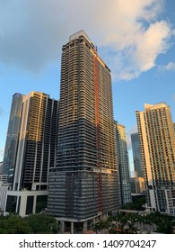 View of Brickell Flatiron luxury condominium tower under construction and surrounding buildings in Brickell area of Miami, Florida taken on May 27, 2019.
