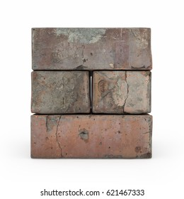 View of brickwork isolated 3d rendering on white background