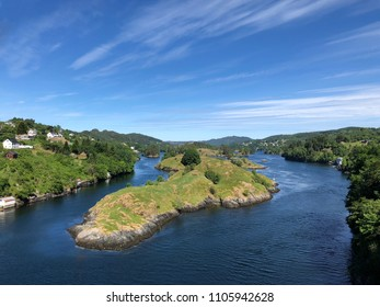 View from a bridge in Alversund in Norway