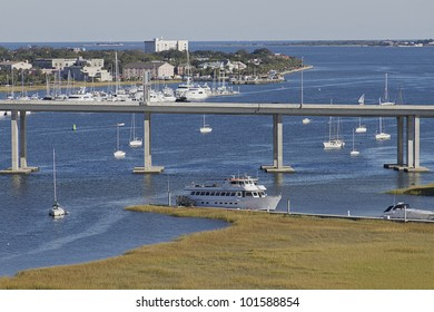 View of the bridge and boats and marina of Charleston, South Carolina