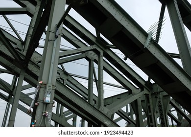 View of a bridge construction made of metal