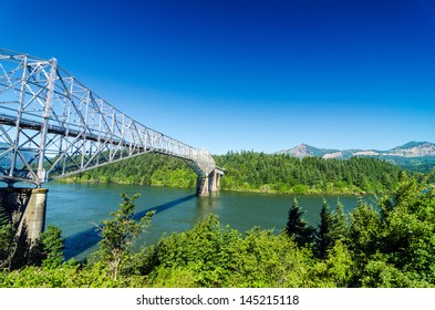 View of the Bridge of the Gods as seen from Oregon crossing the Columbia River into Washington